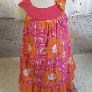 $3/30 Penelope Mack pink orange floral dress sz 4T